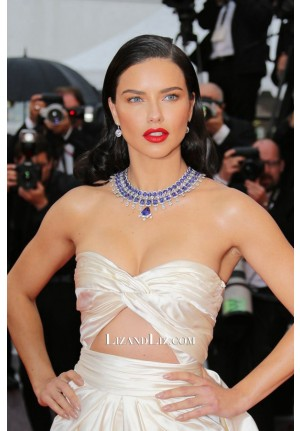 Adriana Lima Champagne Strapless Cut-out Satin Celebrity Dress Cannes 2018