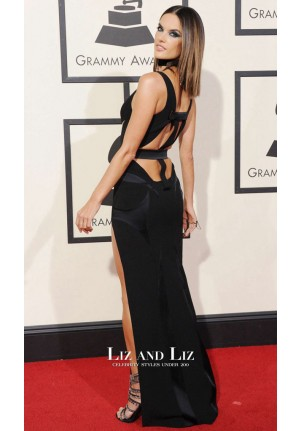 Alessandra Ambrosio Black V-neck Cut-out Satin Dress Grammys 2016