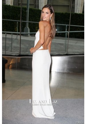 Alessandra Ambrosio White One-shoulder Cut-out Prom Dress CFDA 2013