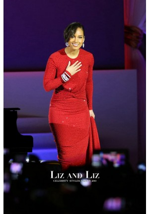 Alicia Keys Red Long-sleeve Sequin Gown Commander-In-Chief's Inaugural Ball