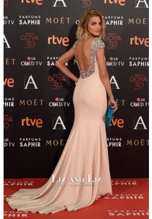 Amaia Salamanca Blush Pink Celebrity Prom Dress Goya Awards 2016