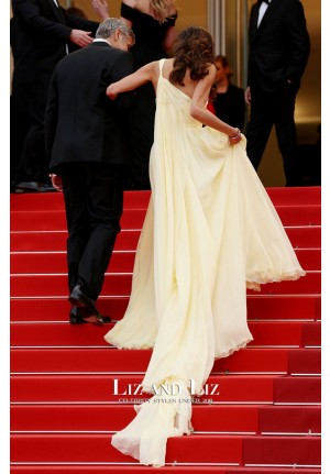 Amal Clooney Yellow One-shoulder Dress Cannes Film Festival 2016 Red Carpet