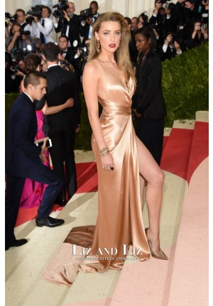 Amber Heard Champagne Satin Celerity Dresses Met Gala 2016 Red Carpet