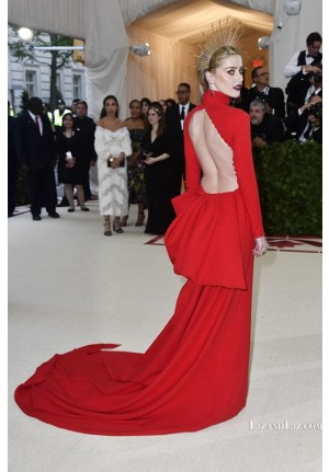 Amber Heard Red Long-sleeve Backless Celebrity Dress Met Gala 2018 Red Carpet