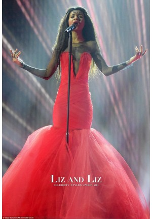 Aminata Savadogo Red Strapless Mermaid Celebrity Dress Eurovision 2015