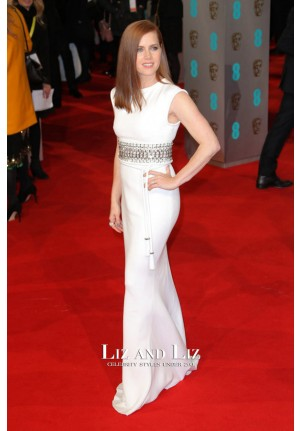 Amy Adams White Column Evening Prom Celebrity Dress BAFTA 2015
