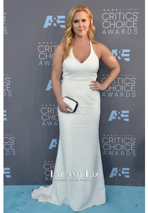 Amy Schumer White Halter Red Carpet Dresses Critics' Choice Awards 2016