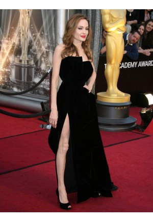 Angelina Jolie Black Strapless Velvet Prom Oscars 2012 Red Carpet