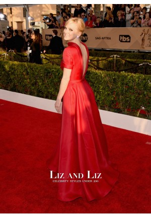 Anna Faris Red Evening Prom Gown SAG Awards 2016 Red Carpet Dress