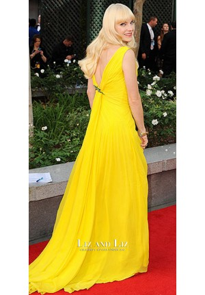 Anna Faris Yellow Chiffon Celebrity Prom Gown Emmys 2013 Red Carpet Dress