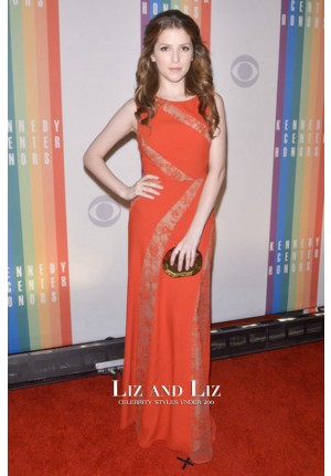Anna Kendrick Orange Lace Satin Dress 36th Kennedy Center Honors Gala