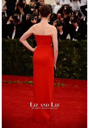 Anne Hathaway Red Strapless Prom Dress Met Gala 2014 Red Carpet