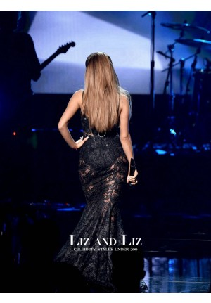 Ariana Grande Black Lace Celebrity Prom Dress American Music Awards 2014