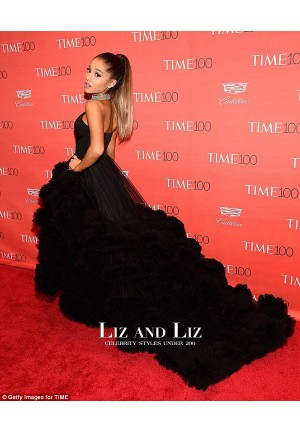 Ariana Grande Black Strapless Ruffled Ball Gown Celebrity Dress 100 Time Gala