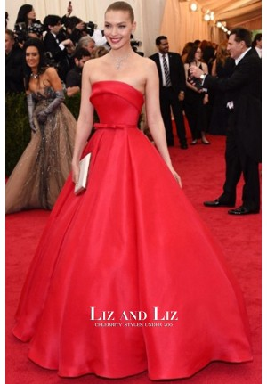 Arizona Muse Red Strapless Ball Gown Dress Met Gala 2014 Red Carpet