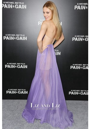 Bar Paly Lavender Strapless Chiffon Celebrity Dress Pain & Gain Premiere