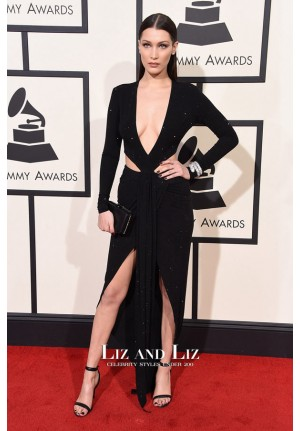 Bella Hadid Black Long-sleeve V-neck Sequin Dress Grammys 2016