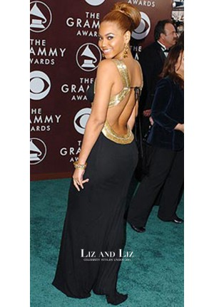 Beyonce Black and Gold Evening Prom Red Carpet Dress Grammys 2005