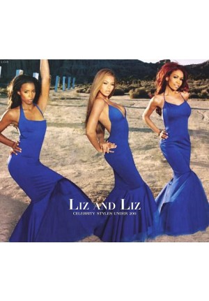 Beyonce Blue Halter Backless Mermaid Celebrity Prom Dress Cater 2 U