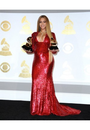 Beyonce Red Long-sleeve V-neck Sequin Prom Dress Grammys 2017