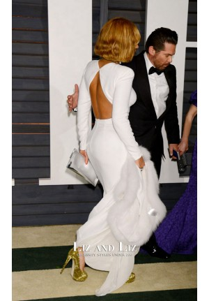 Beyonce Knowles White Long-sleeve Dress Vanity Fair Oscar Party 2015