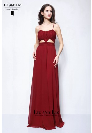 Blake Lively Burgundy Cut-out Chiffon Evening Prom Gossip Girl Dresses