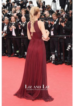 Blake Lively Burgundy Pleated Chiffon Gown Cannes 2014 Red Carpet Dress