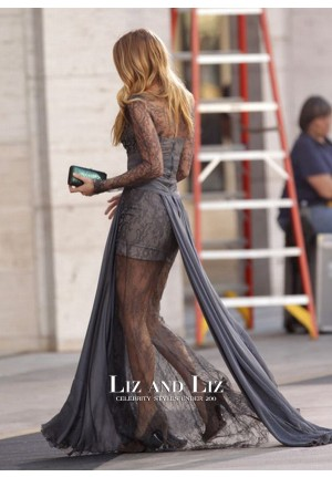 Blake Lively Grey Lace Long-sleeve Evening Prom Celebrity Dress Gossip Girl