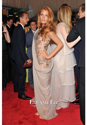 Blake Lively Grey Draped Lace Chiffon Dress Met Gala 2011 Red Carpet