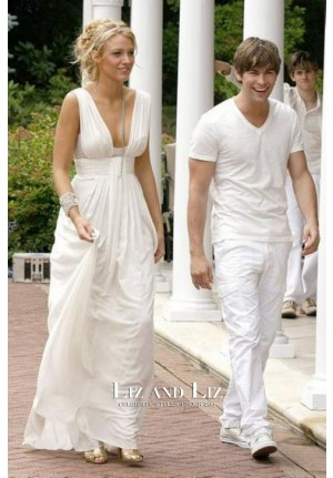 Blake Lively White Sleeveless V-neck Chiffon Celebrity Prom Dress Gossip Girl