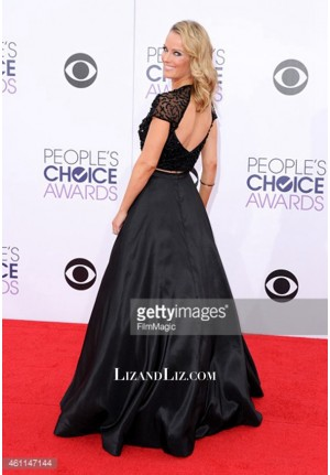 Brooke Anderson Black Beaded Celebrity Dress People's Choice Awards 2015