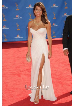 Brooke Burke White Strapless Chiffon Red Carpet Dress Emmys 2010