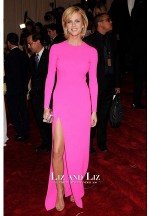 Brooklyn Decker Pink Long-sleeve Prom Met Gala 2011 Red Carpet Dress