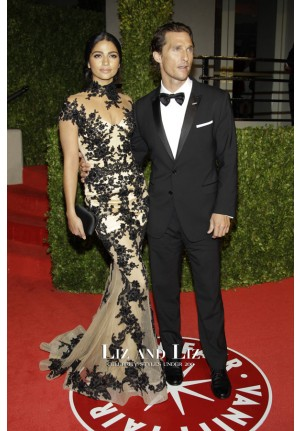 Camila Alves Black Lace Mermaid Prom Dress 2011 Vanity Fair Oscar Party