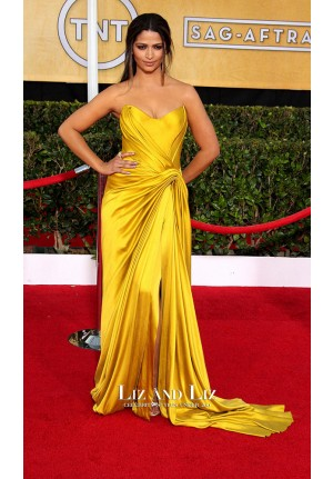 Camila Alves Yellow Strapless Prom Red Carpet Dress SAG Awards 2014