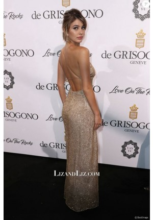 Camila Morrone Gold Sequin High Slit Celebrity Prom Dress Cannes 2017