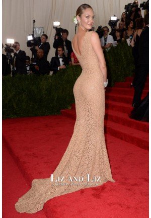Candice Swanepoel Mermaid V-neck Lace Red Carpet Dress Met Gala 2015