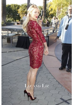 "Candice Swanepoel Short Red Lace Celebrity Cocktail Party Dress on ""Extra"""
