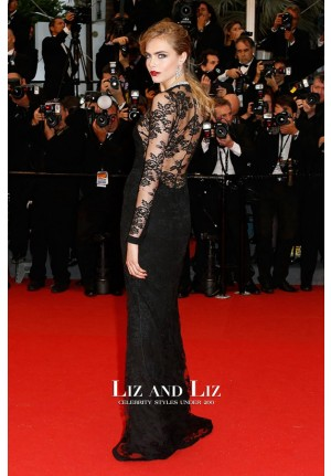Cara Delevingne Black Lace Celebrity Gown Cannes 2013 Red Carpet Dress