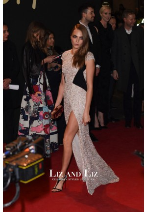 Cara Delevingne Sequin Dress British Fashion Awards 2014 Red Carpet