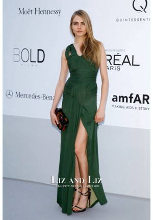 Cara Delevingne Green Formal Prom Dress amfAR Cannes 2012 Red Carpet