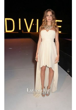Cara Delevingne White High-low Chiffon Red Carpet Dress Cannes 2015