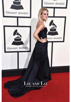 Carrie Underwood Black Strapless Red Carpet Dress Grammys 2016