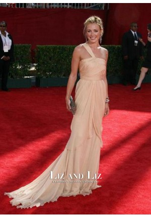 Cat Deeley One-shoulder Chiffon Prom Dress Emmys 2009 Red Carpet