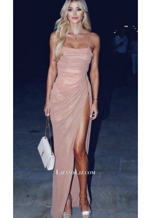 Celebrity Inspired Pink Spaghetti Straps Formal Prom Dress With High Slit