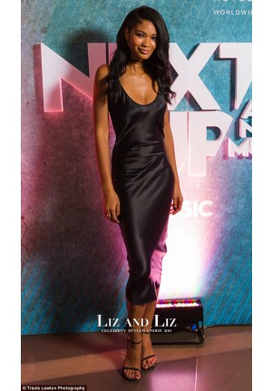 Chanel Iman Inspired Black Satin Cocktail Party Prom Celebrity Dresses