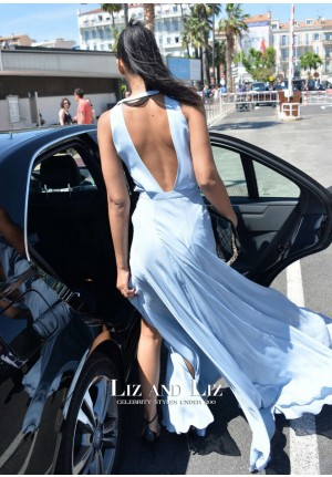Chanel Iman Light Blue Maxi Long Evening Prom Celebrity Dress Cannes 2015