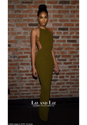Chanel Iman Olive Green Cut-out Celebrity Dress IMG Models Party 2016