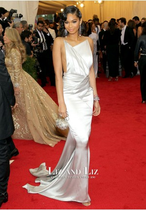 Chanel Iman Silver Mermaid Satin Gown Met Gala 2014 Red Carpet Dress