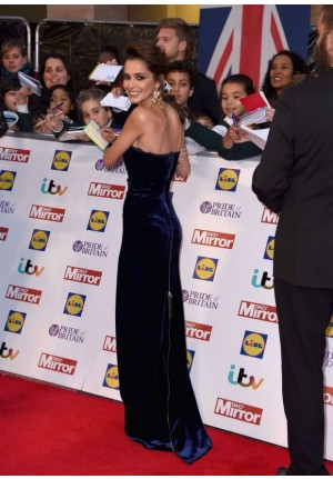 Cheryl Cole Blue Strapless Velvet Celebrity Dresses 2015 Pride Of Britain Awards